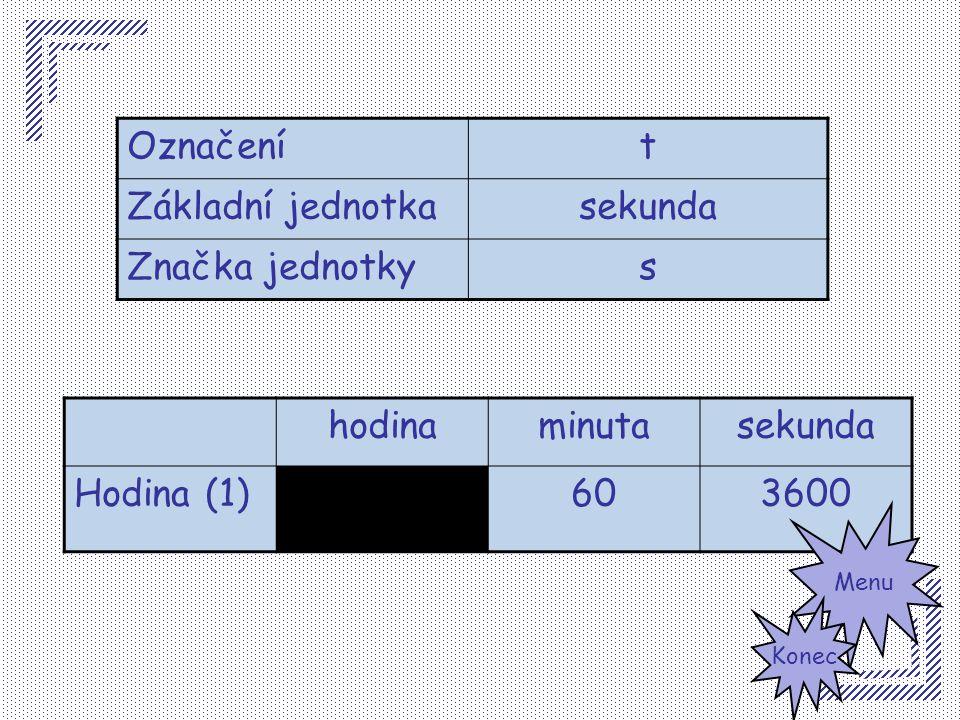 Označení t Základní jednotka sekunda Značka jednotky s hodina minuta