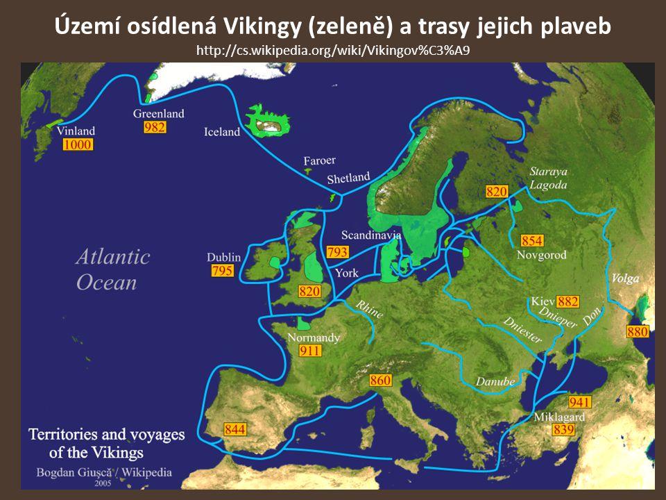 Území osídlená Vikingy (zeleně) a trasy jejich plaveb http://cs
