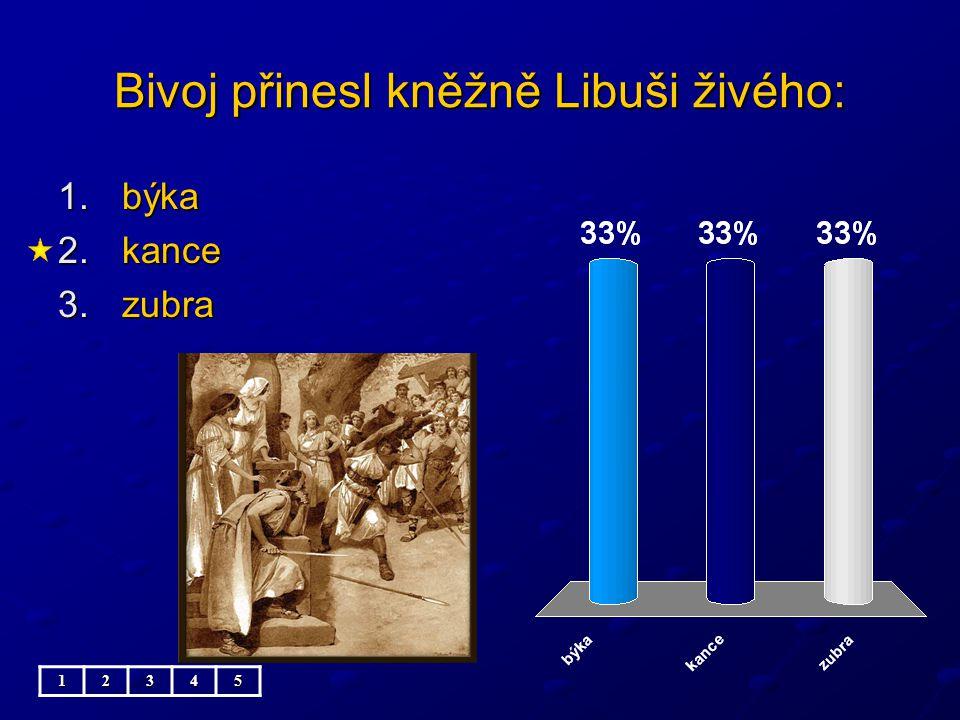 Bivoj přinesl kněžně Libuši živého: