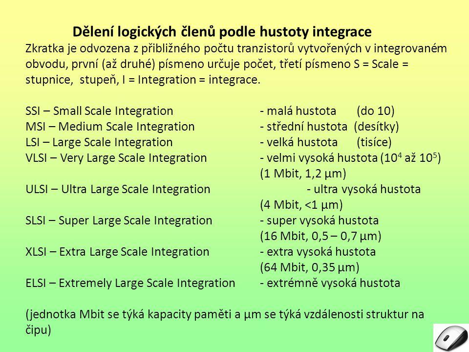 Dělení logických členů podle hustoty integrace
