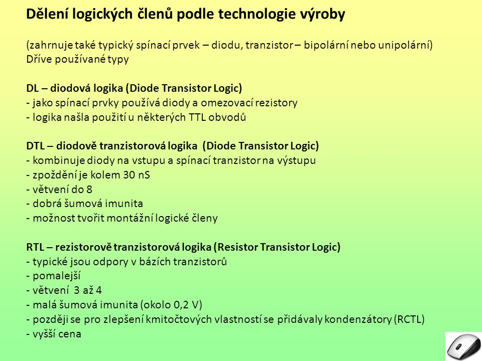 Dělení logických členů podle technologie výroby