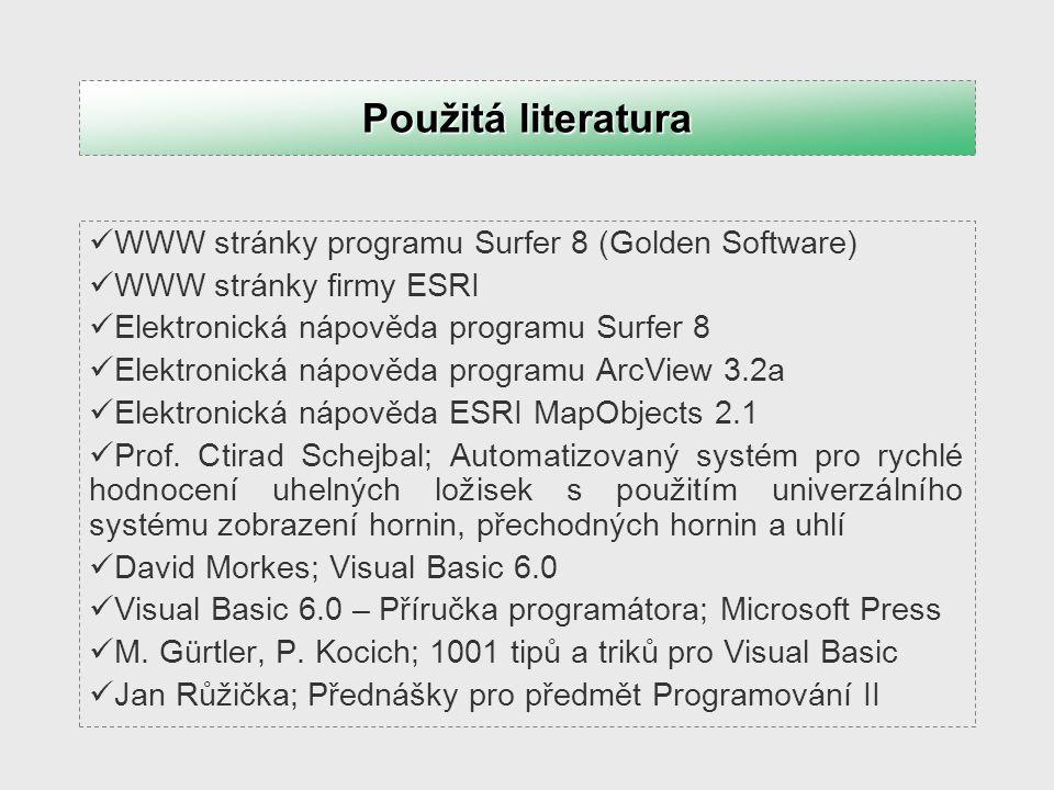 Použitá literatura WWW stránky programu Surfer 8 (Golden Software)
