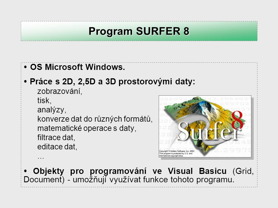 Program SURFER 8 OS Microsoft Windows.