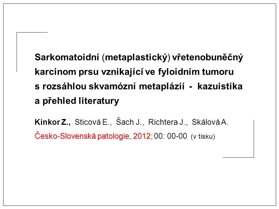 Sarkomatoidní (metaplastický) vřetenobuněčný karcinom prsu vznikající ve fyloidním tumoru s rozsáhlou skvamózní metaplázií - kazuistika a přehled literatury