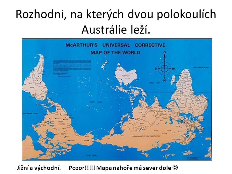 Rozhodni, na kterých dvou polokoulích Austrálie leží.