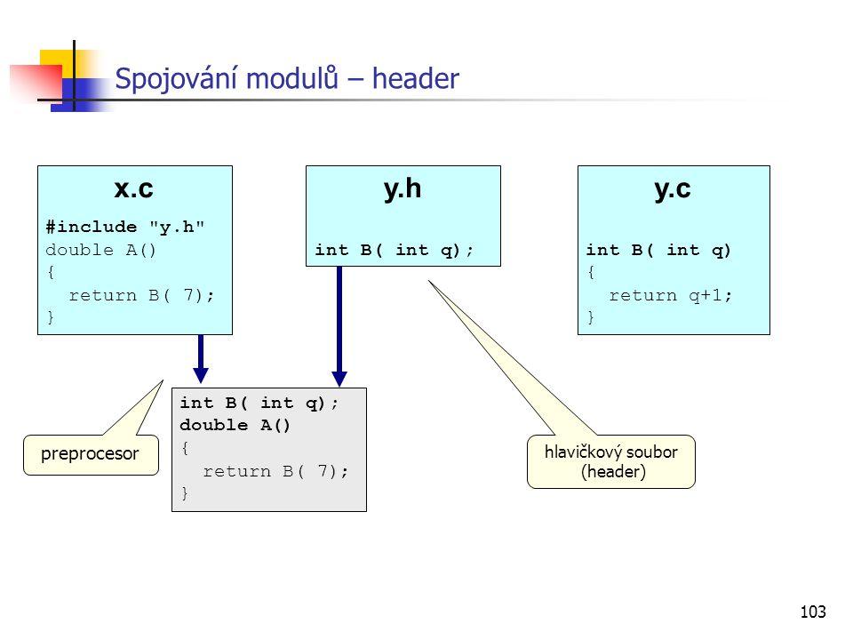 Spojování modulů – header