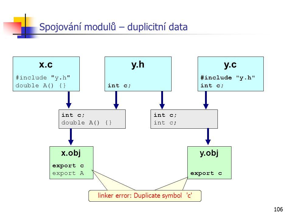 Spojování modulů – duplicitní data