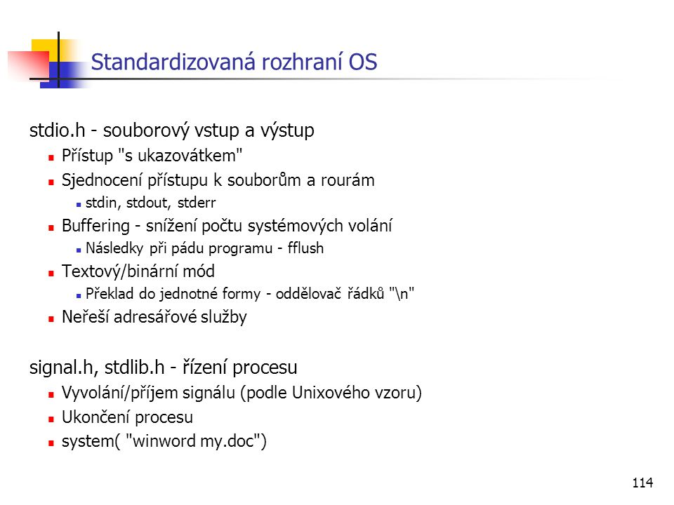 Standardizovaná rozhraní OS