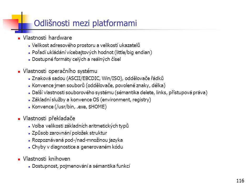 Odlišnosti mezi platformami