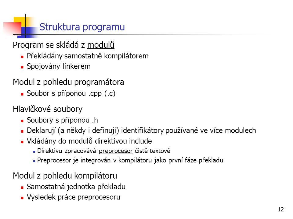 Struktura programu Program se skládá z modulů