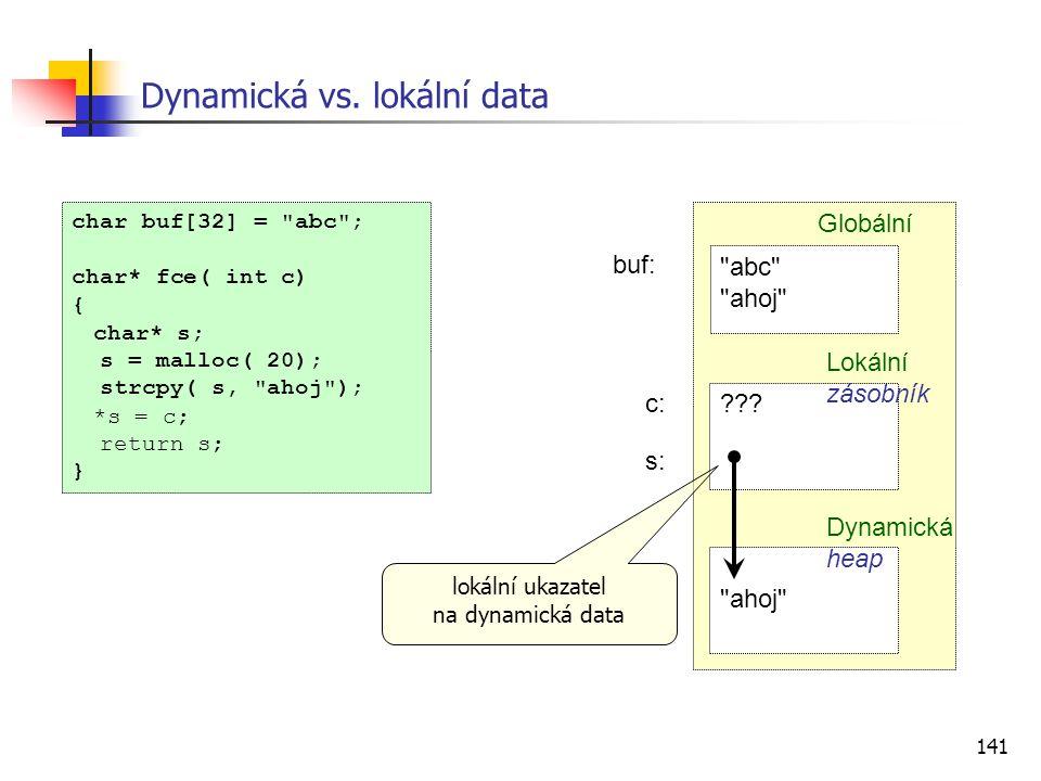 Dynamická vs. lokální data