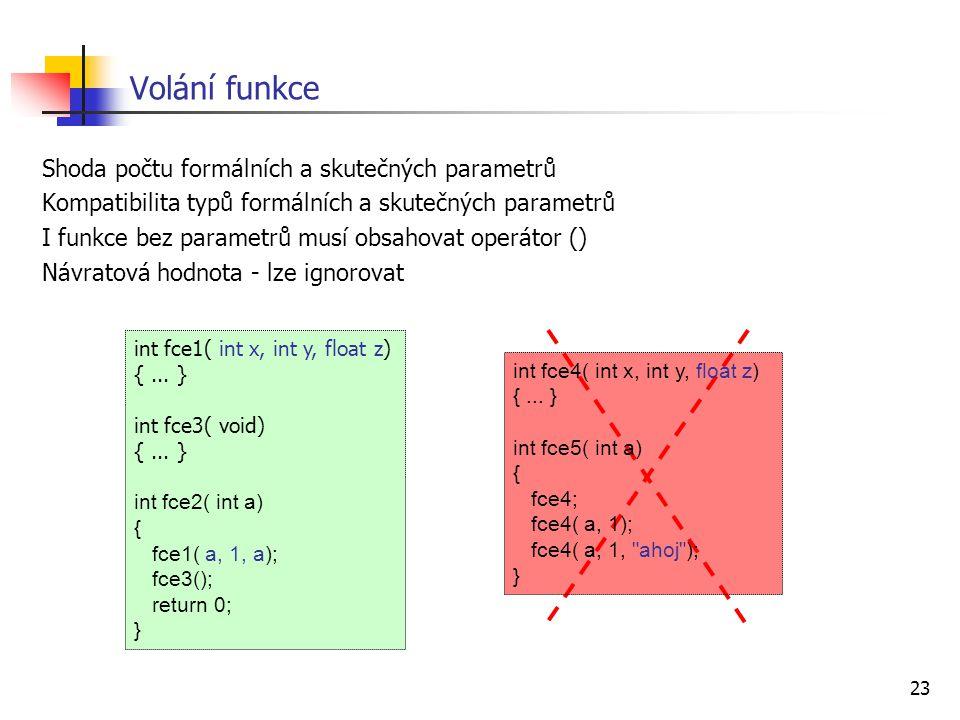 Volání funkce Shoda počtu formálních a skutečných parametrů