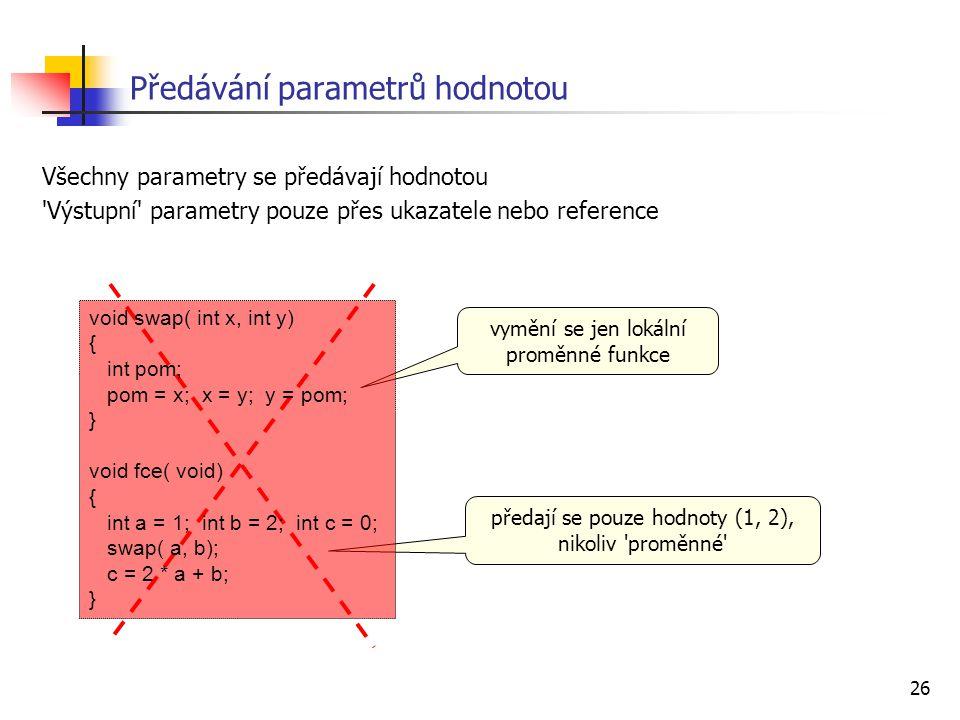 Předávání parametrů hodnotou