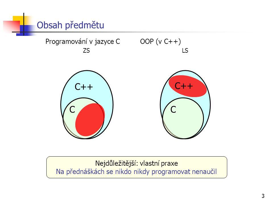 Obsah předmětu C++ C++ C C ZS LS Programování v jazyce C OOP (v C++)