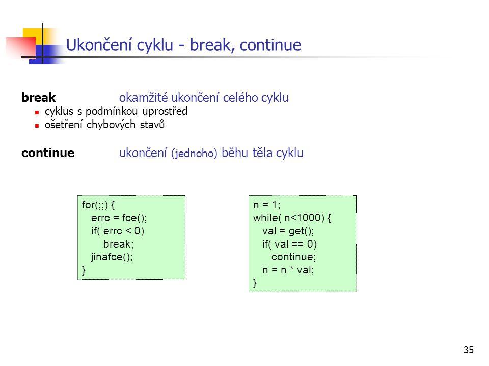 Ukončení cyklu - break, continue