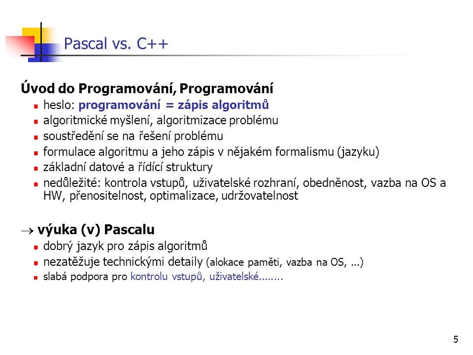 Pascal vs. C++ Úvod do Programování, Programování  výuka (v) Pascalu