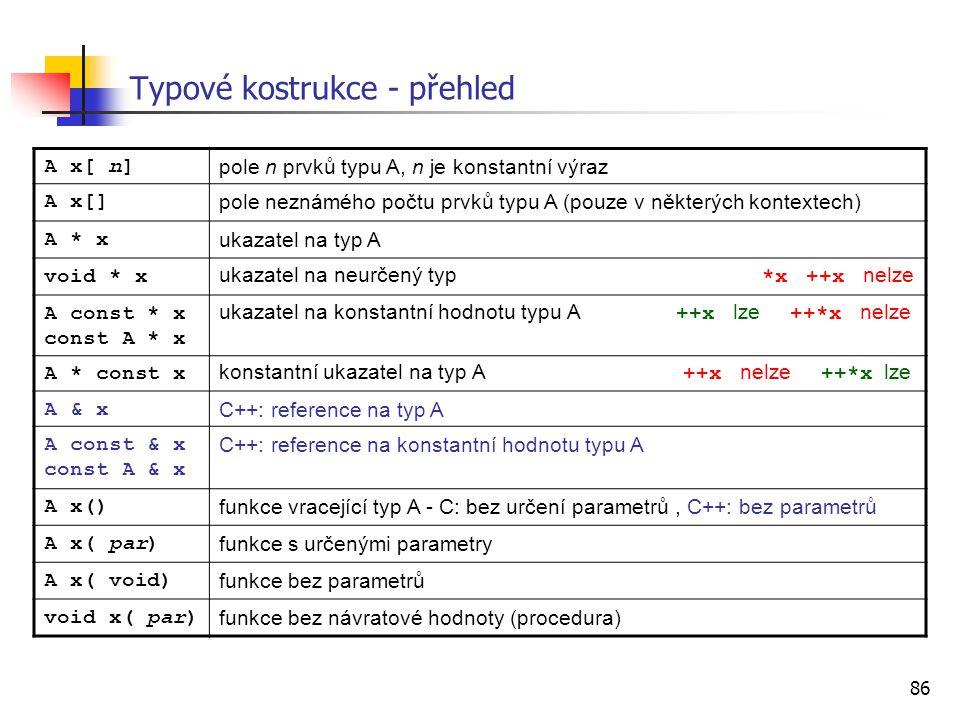 Typové kostrukce - přehled