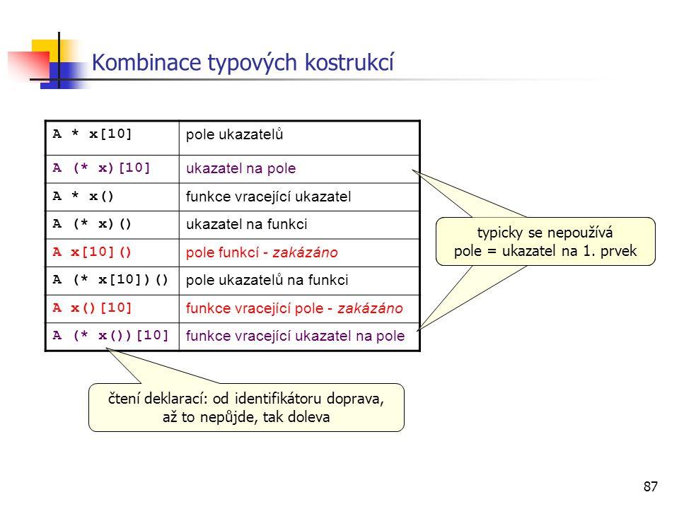 Kombinace typových kostrukcí