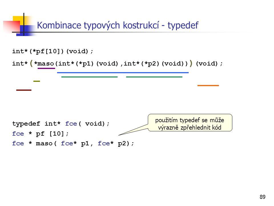 Kombinace typových kostrukcí - typedef