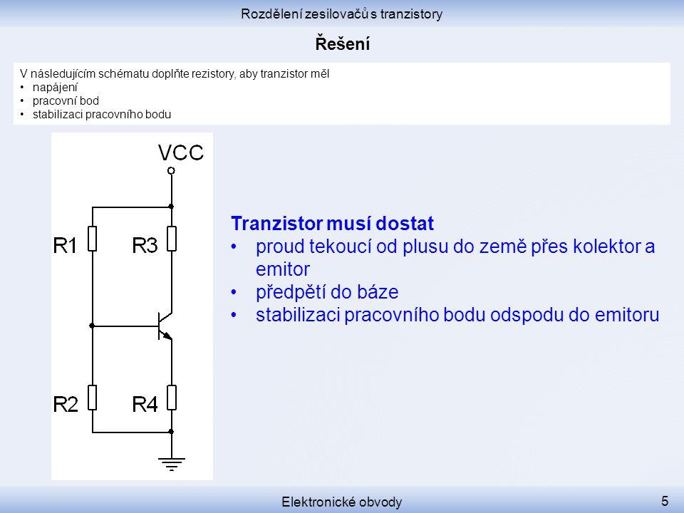 Rozdělení zesilovačů s tranzistory
