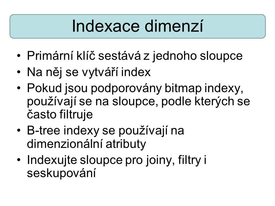 Indexace dimenzí Primární klíč sestává z jednoho sloupce