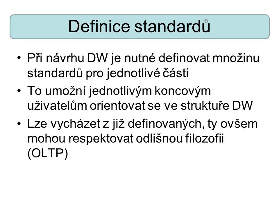 Definice standardů Při návrhu DW je nutné definovat množinu standardů pro jednotlivé části.