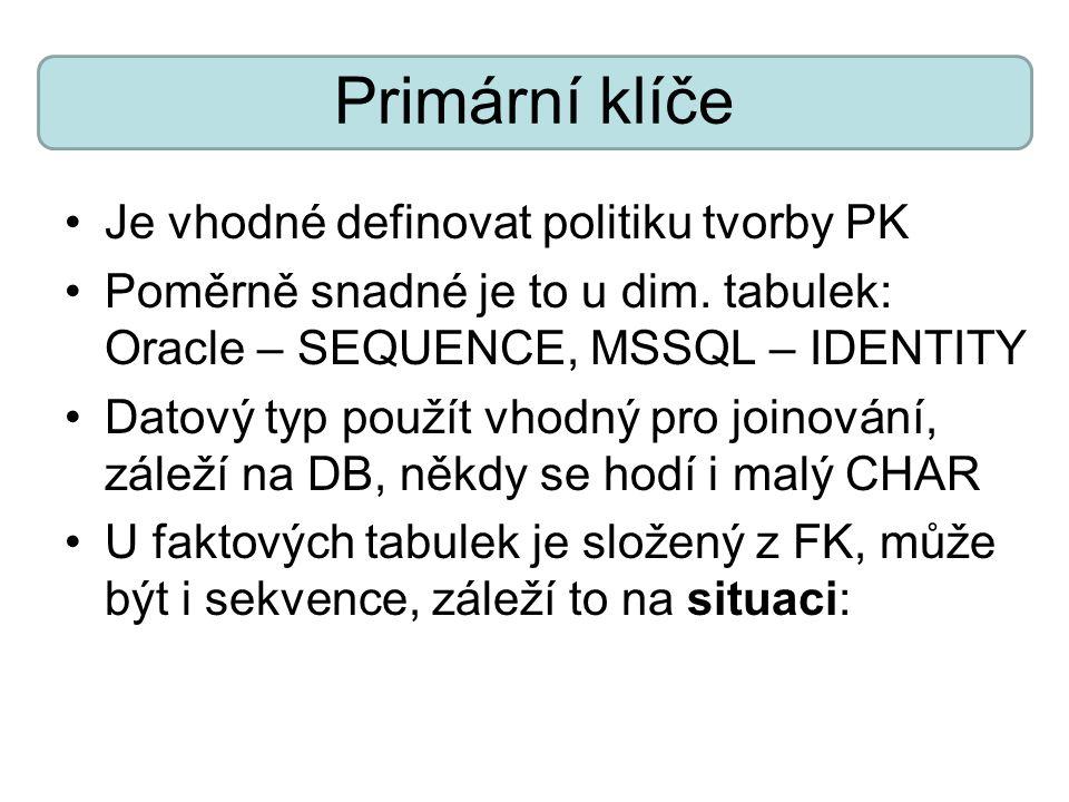 Primární klíče Je vhodné definovat politiku tvorby PK