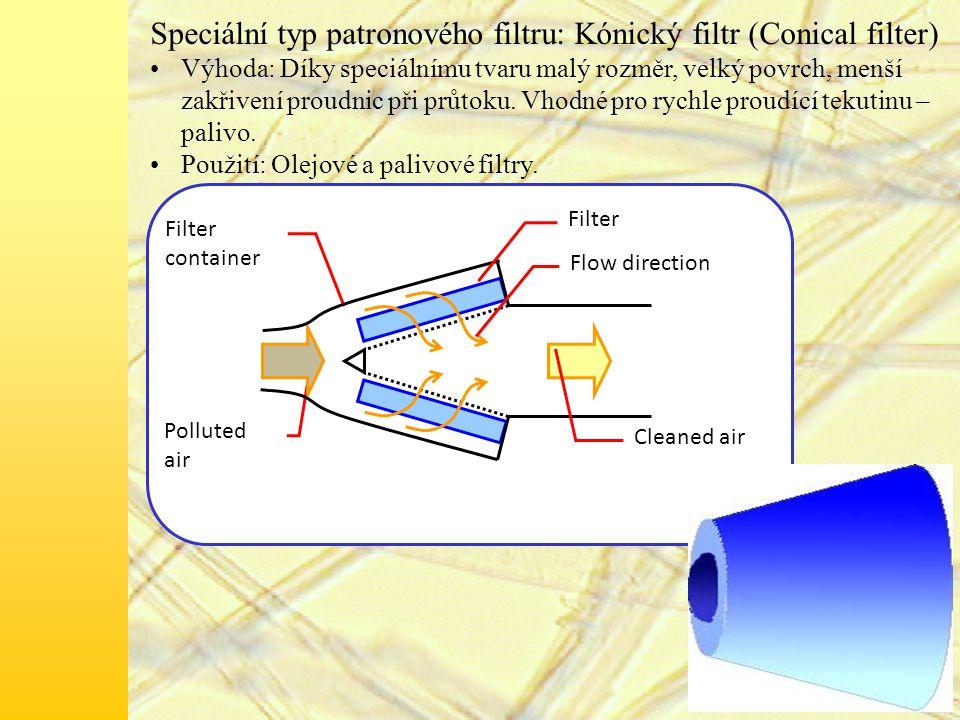 Speciální typ patronového filtru: Kónický filtr (Conical filter)