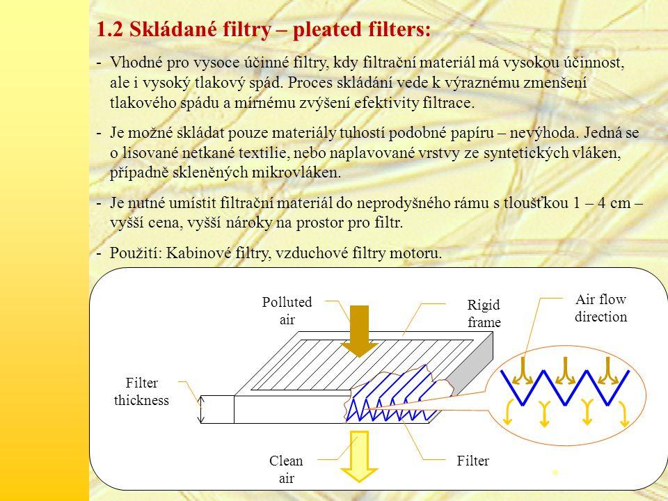 1.2 Skládané filtry – pleated filters: