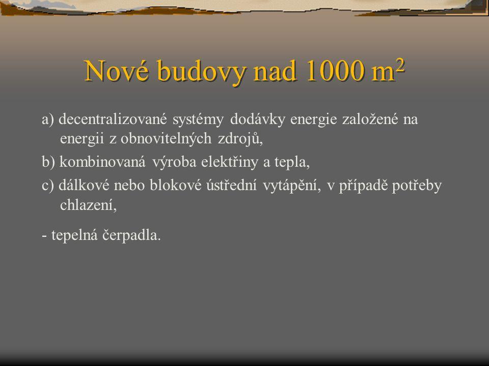 Nové budovy nad 1000 m2 a) decentralizované systémy dodávky energie založené na energii z obnovitelných zdrojů,