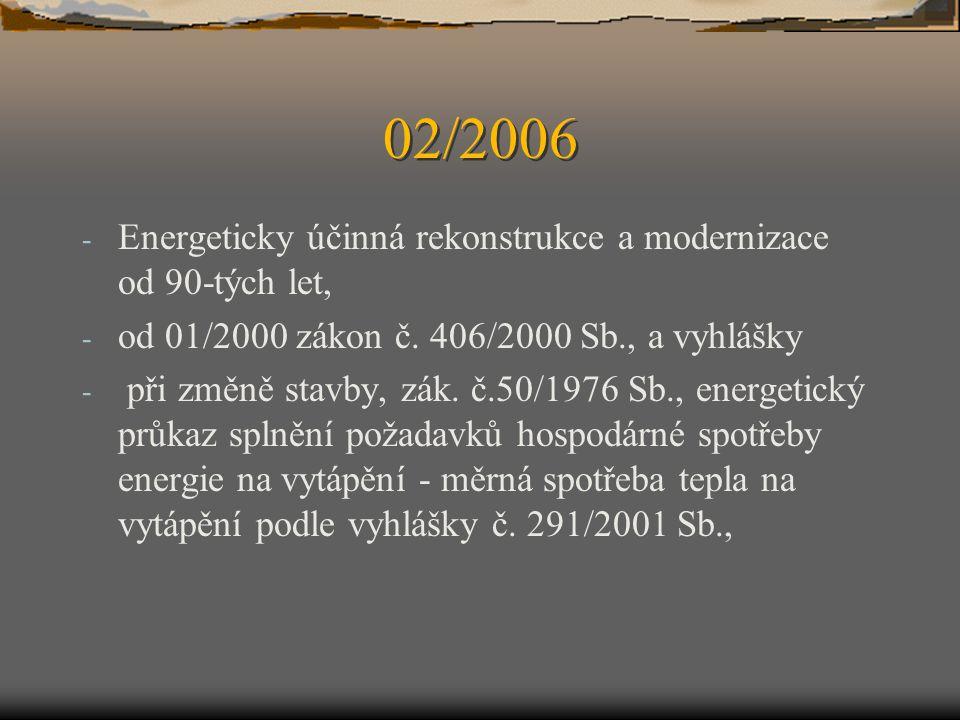 02/2006 Energeticky účinná rekonstrukce a modernizace od 90-tých let,