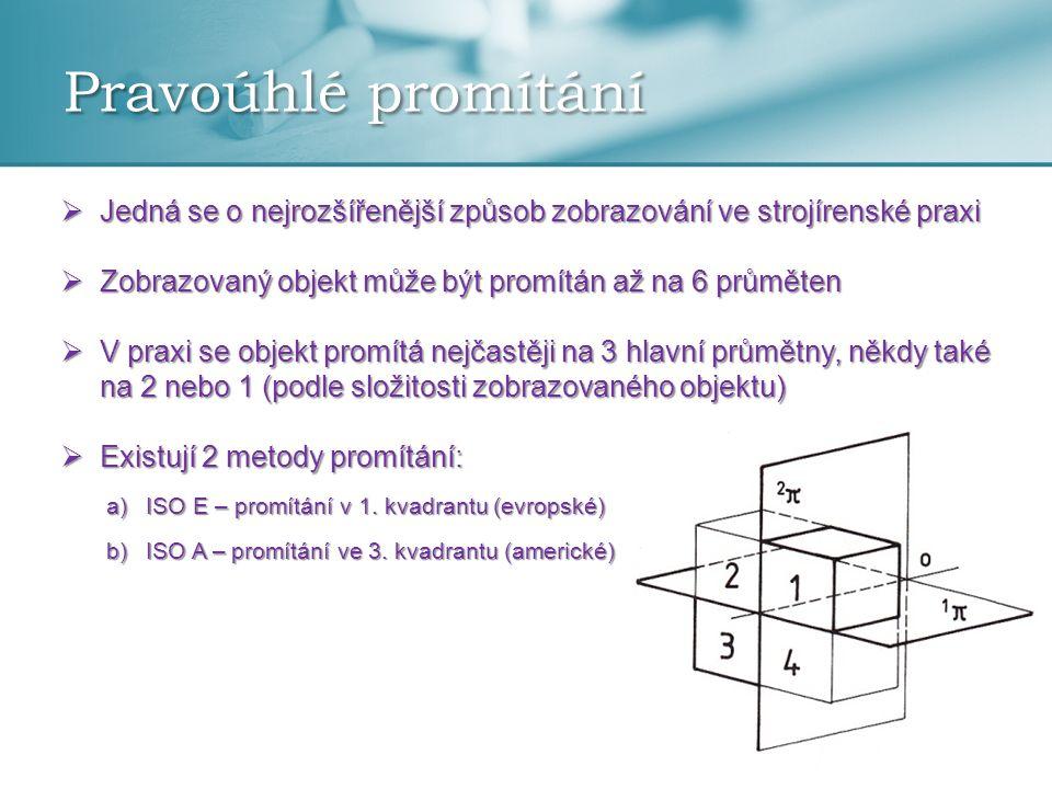 Pravoúhlé promítání Jedná se o nejrozšířenější způsob zobrazování ve strojírenské praxi. Zobrazovaný objekt může být promítán až na 6 průměten.