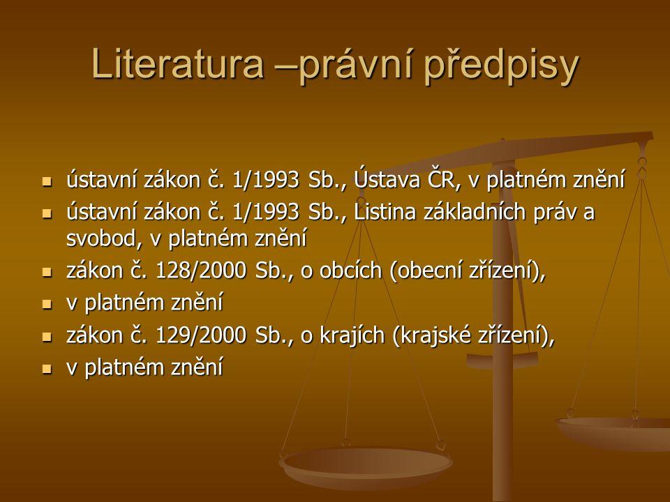 Literatura –právní předpisy