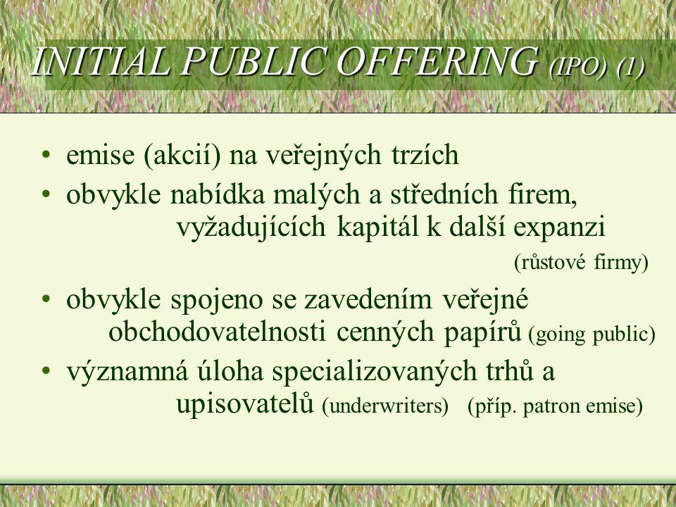 INITIAL PUBLIC OFFERING (IPO) (1)