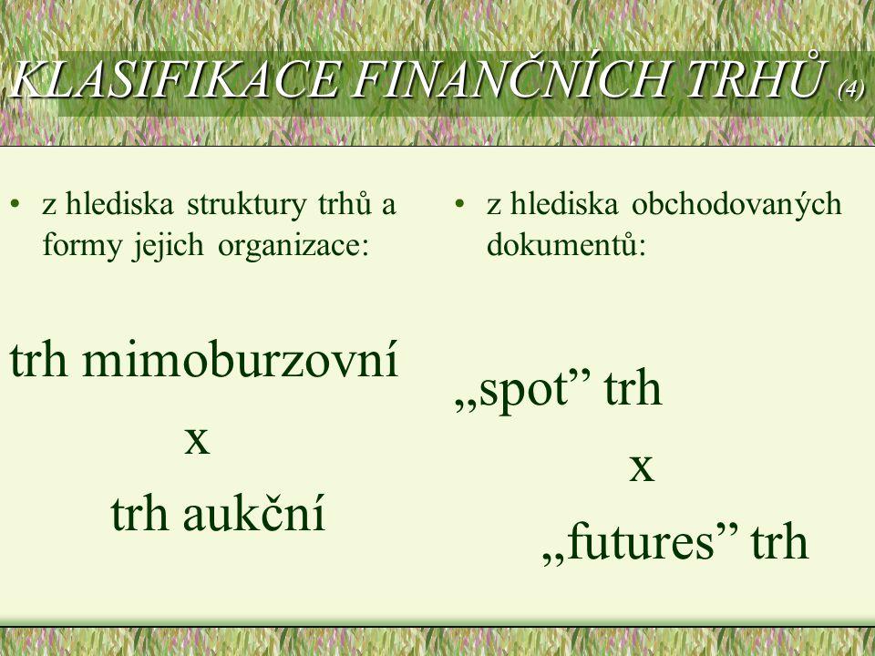 KLASIFIKACE FINANČNÍCH TRHŮ (4)