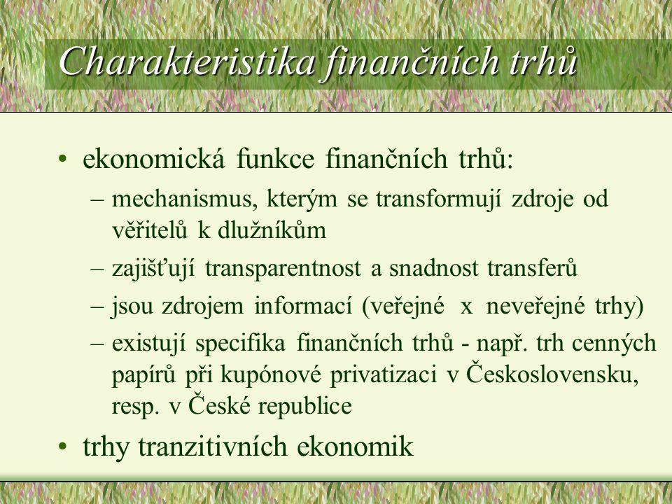 Charakteristika finančních trhů