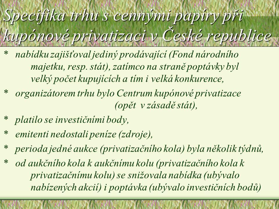Specifika trhu s cennými papíry při kupónové privatizaci v České republice