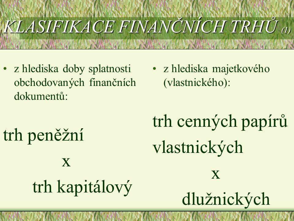 KLASIFIKACE FINANČNÍCH TRHŮ (1)