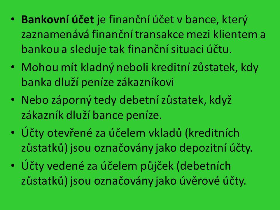 Bankovní účet je finanční účet v bance, který zaznamenává finanční transakce mezi klientem a bankou a sleduje tak finanční situaci účtu.