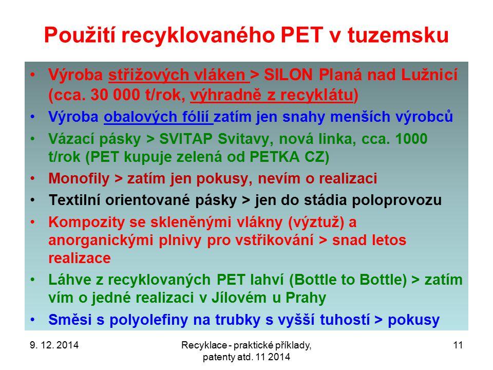 Použití recyklovaného PET v tuzemsku