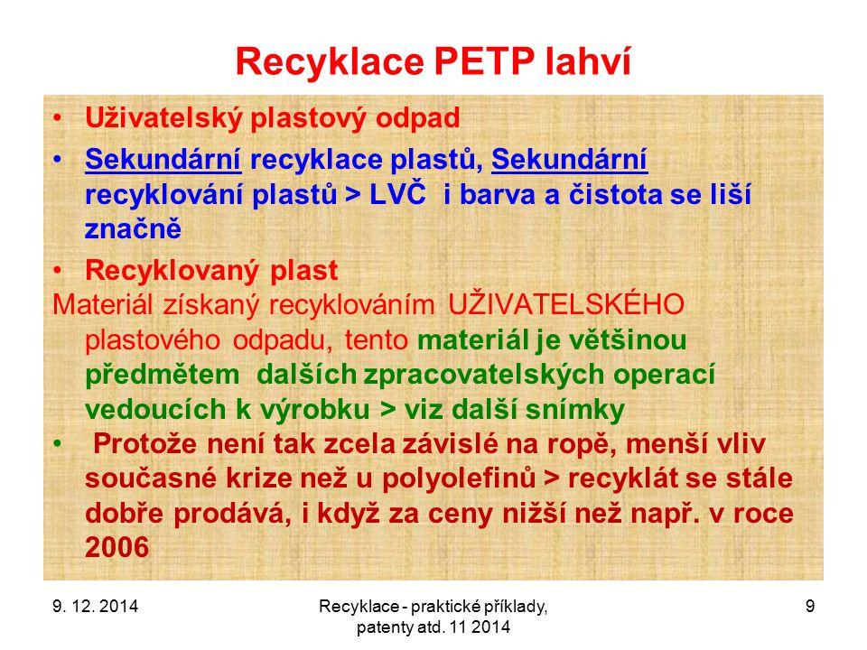 Recyklace - praktické příklady, patenty atd. 11 2014