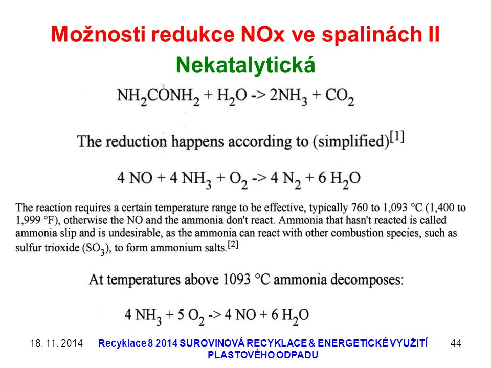 Možnosti redukce NOx ve spalinách II
