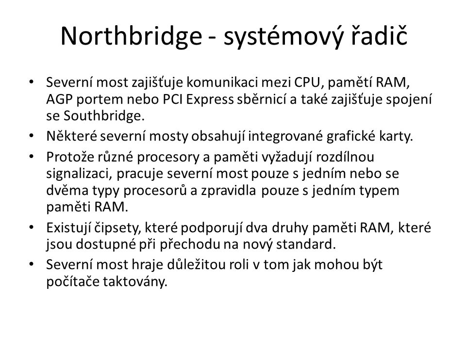 Northbridge - systémový řadič