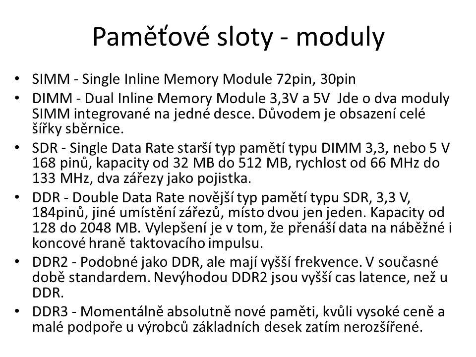 Paměťové sloty - moduly