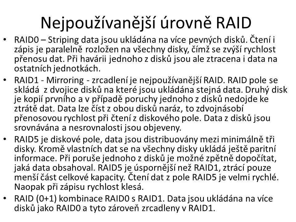 Nejpoužívanější úrovně RAID