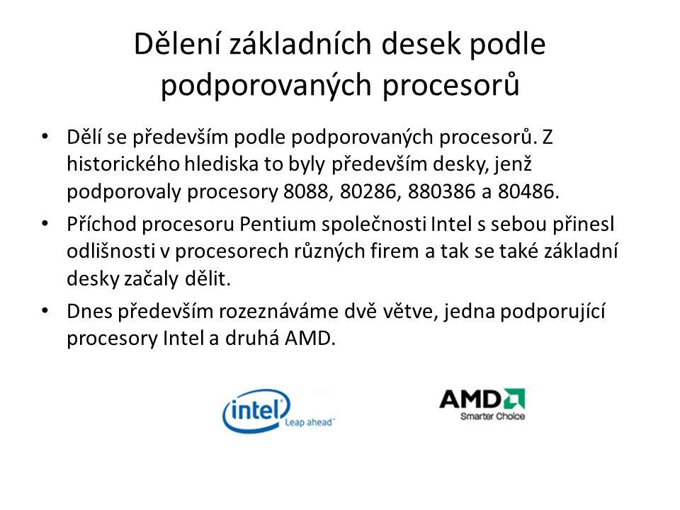 Dělení základních desek podle podporovaných procesorů
