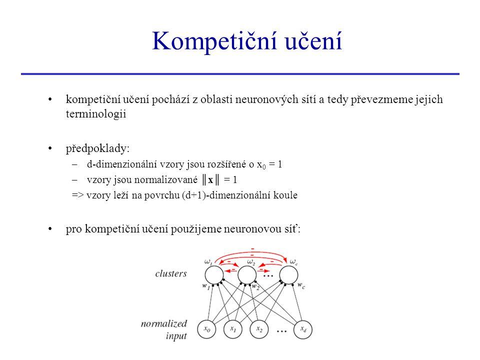Kompetiční učení kompetiční učení pochází z oblasti neuronových sítí a tedy převezmeme jejich terminologii.