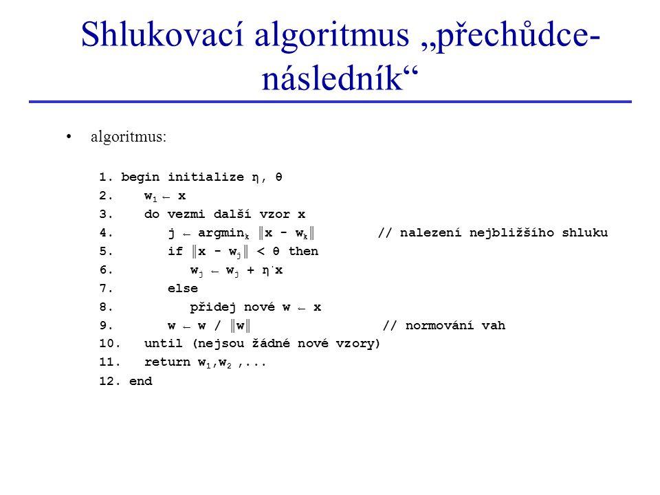 """Shlukovací algoritmus """"přechůdce-následník"""
