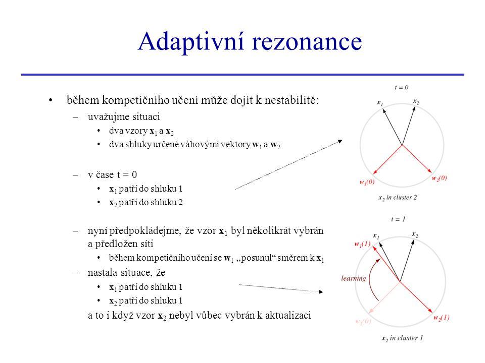 Adaptivní rezonance během kompetičního učení může dojít k nestabilitě: