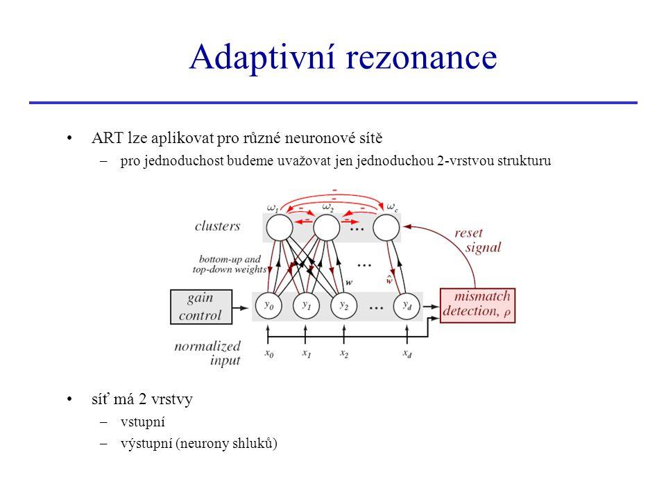 Adaptivní rezonance ART lze aplikovat pro různé neuronové sítě